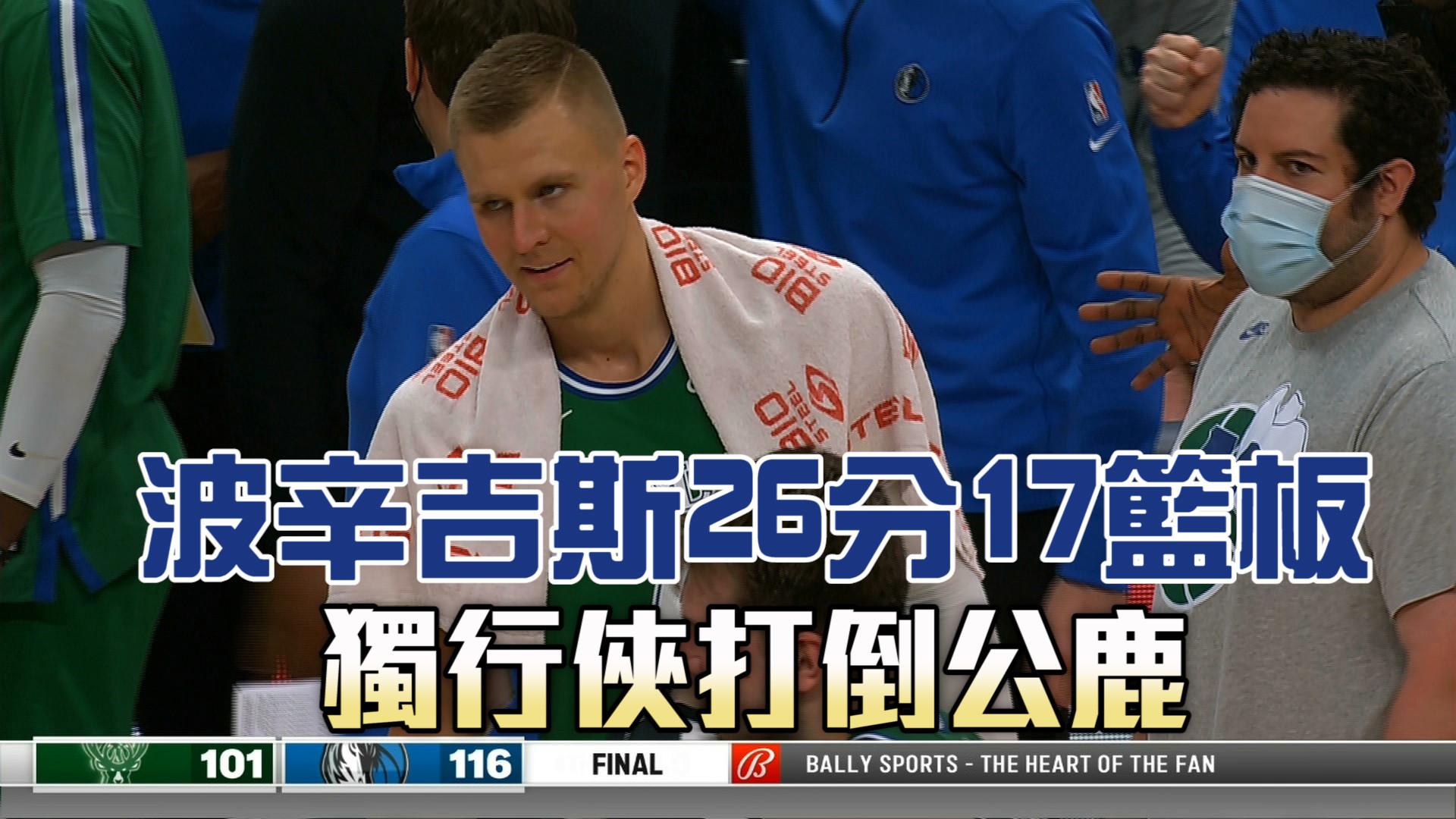 波辛吉斯26分17籃板 獨行俠打倒公鹿 04/09