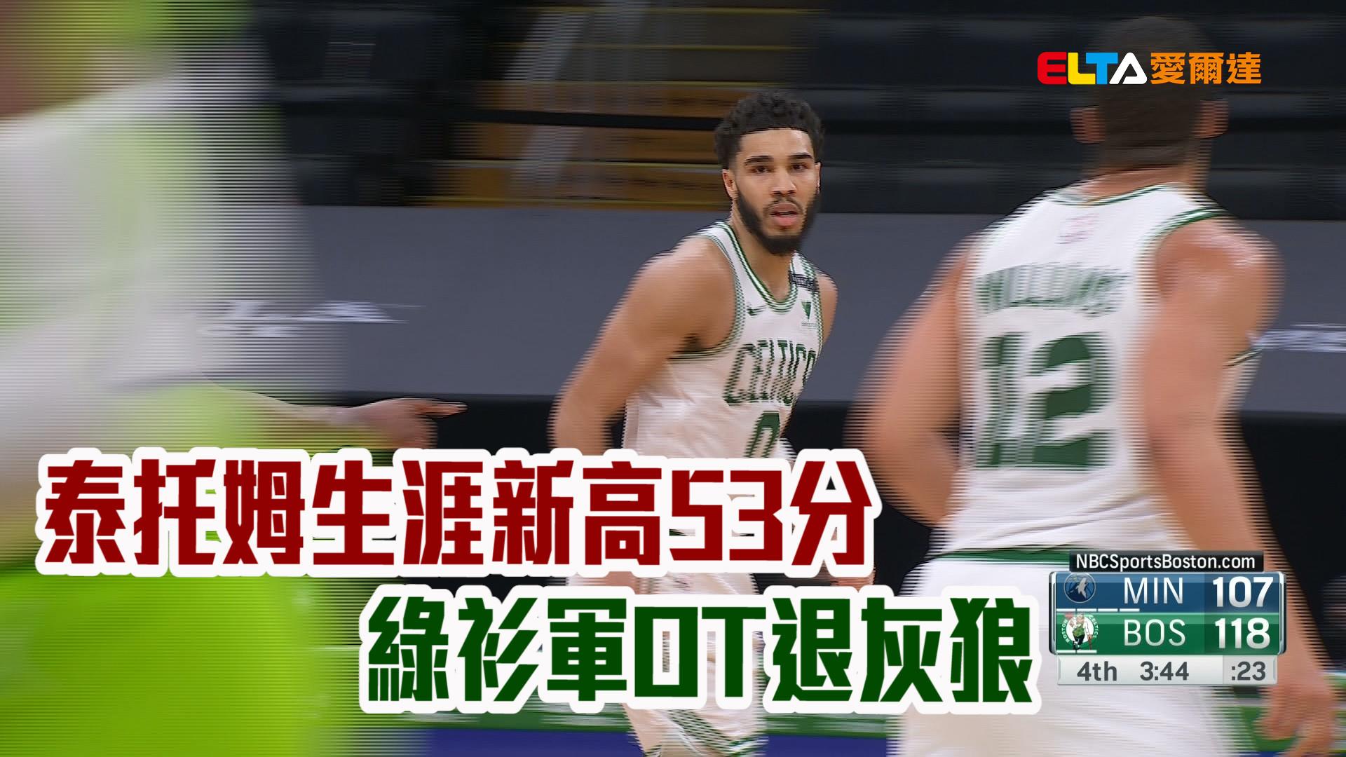 泰托姆生涯新高53分 綠衫軍OT退灰狼 04/10