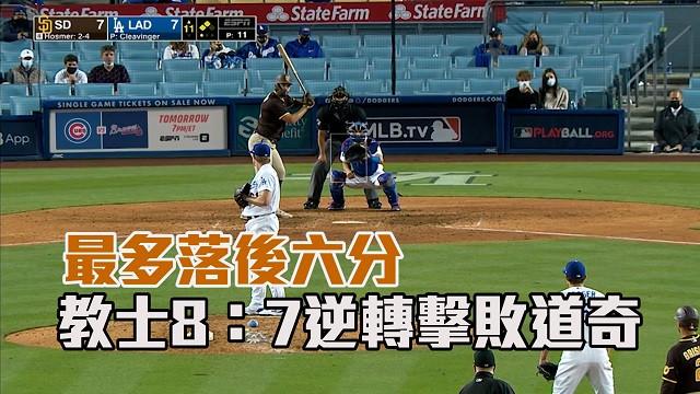 【MLB看愛爾達】最多落後六分 教士8:7逆轉擊敗道奇 04/26