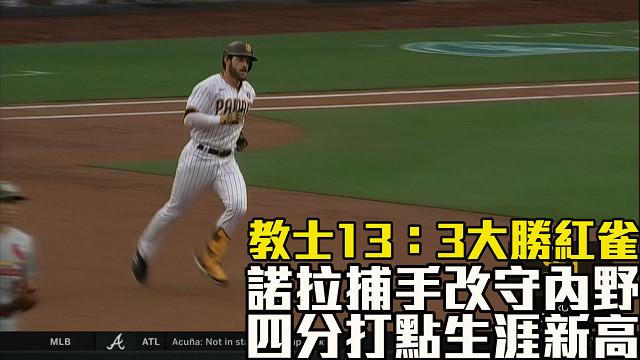 【MLB看愛爾達】諾拉生涯新高四分打點 教士大勝紅雀 05/16