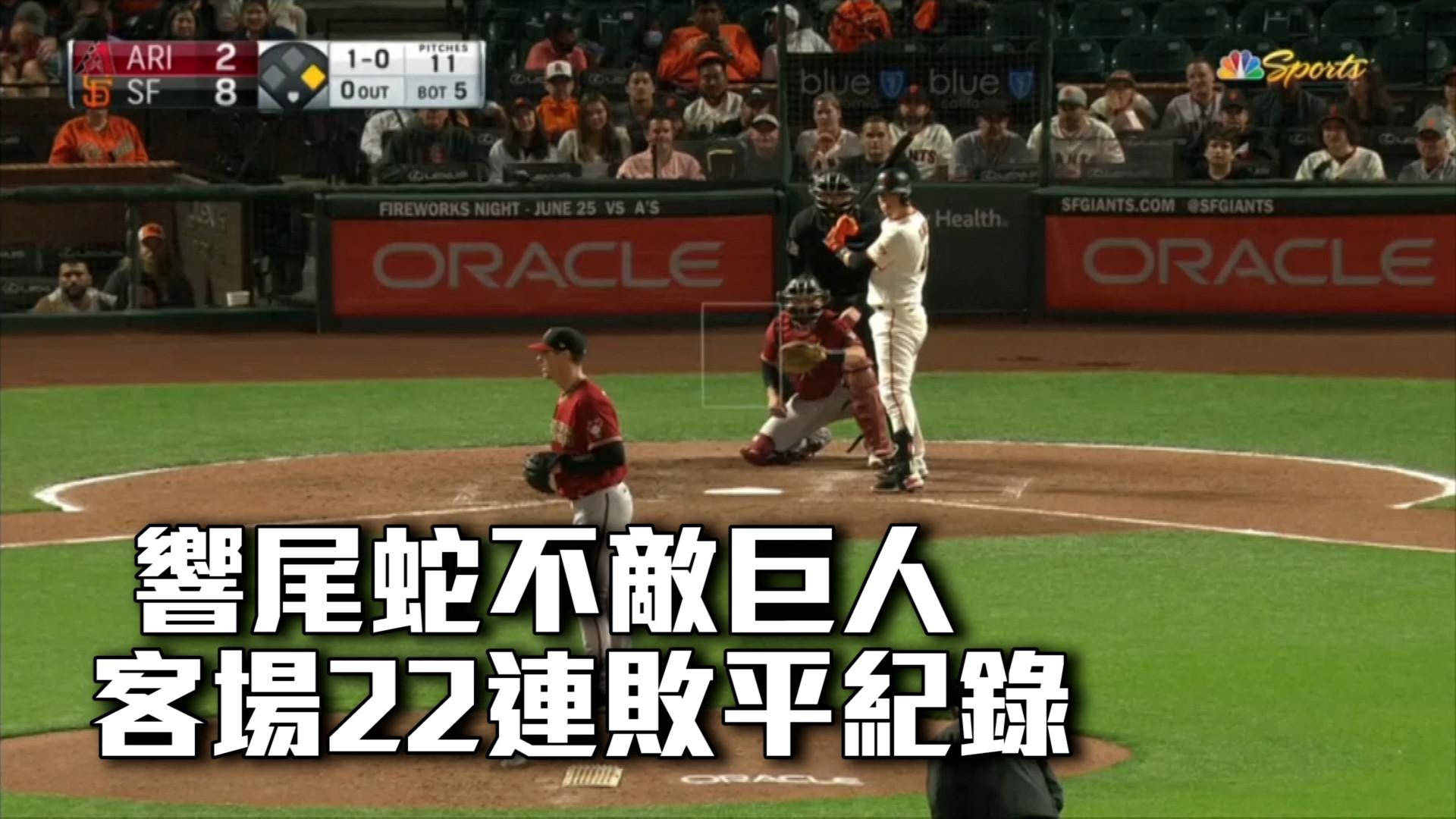【MLB看愛爾達】響尾蛇不敵巨人 客場22連敗平紀錄 06/17