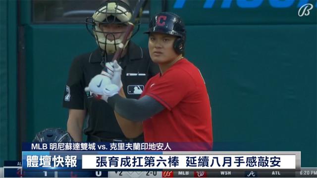 【MLB看愛爾達】張育成雙安演出 印地安人止三連敗 09/10