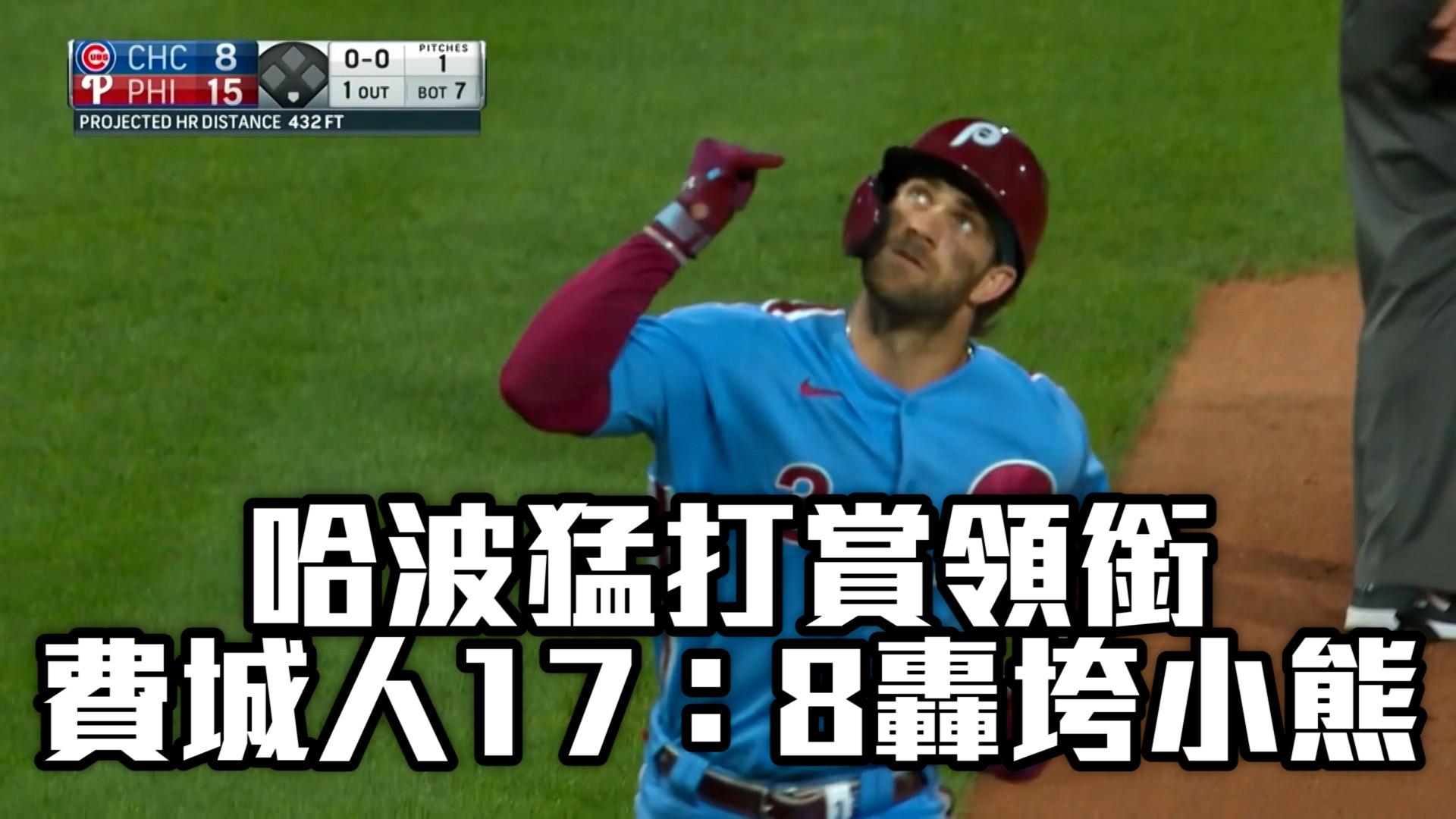 【MLB看愛爾達】哈波猛打賞領銜 費城人17:8轟垮小熊 9/17