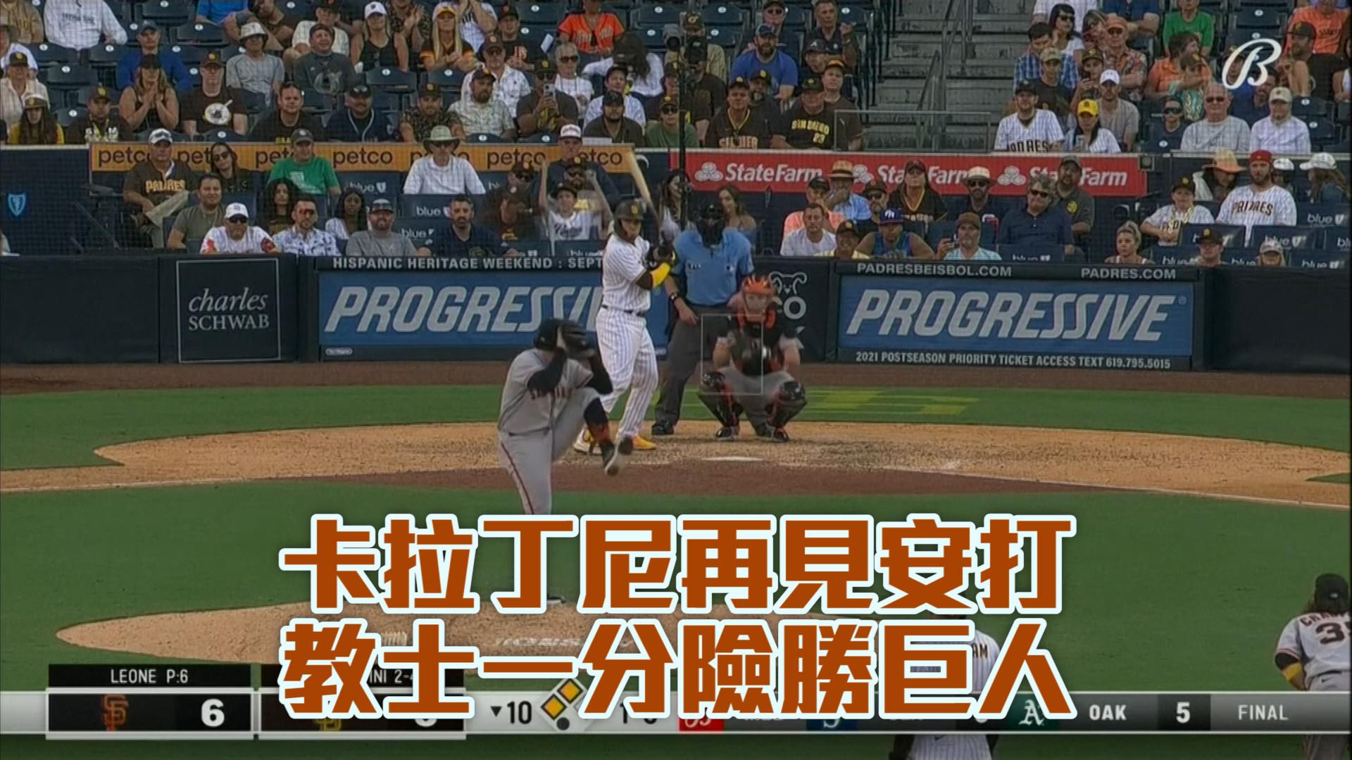 【MLB看愛爾達】卡拉丁尼再見安打 教士一分險勝巨人 9/24