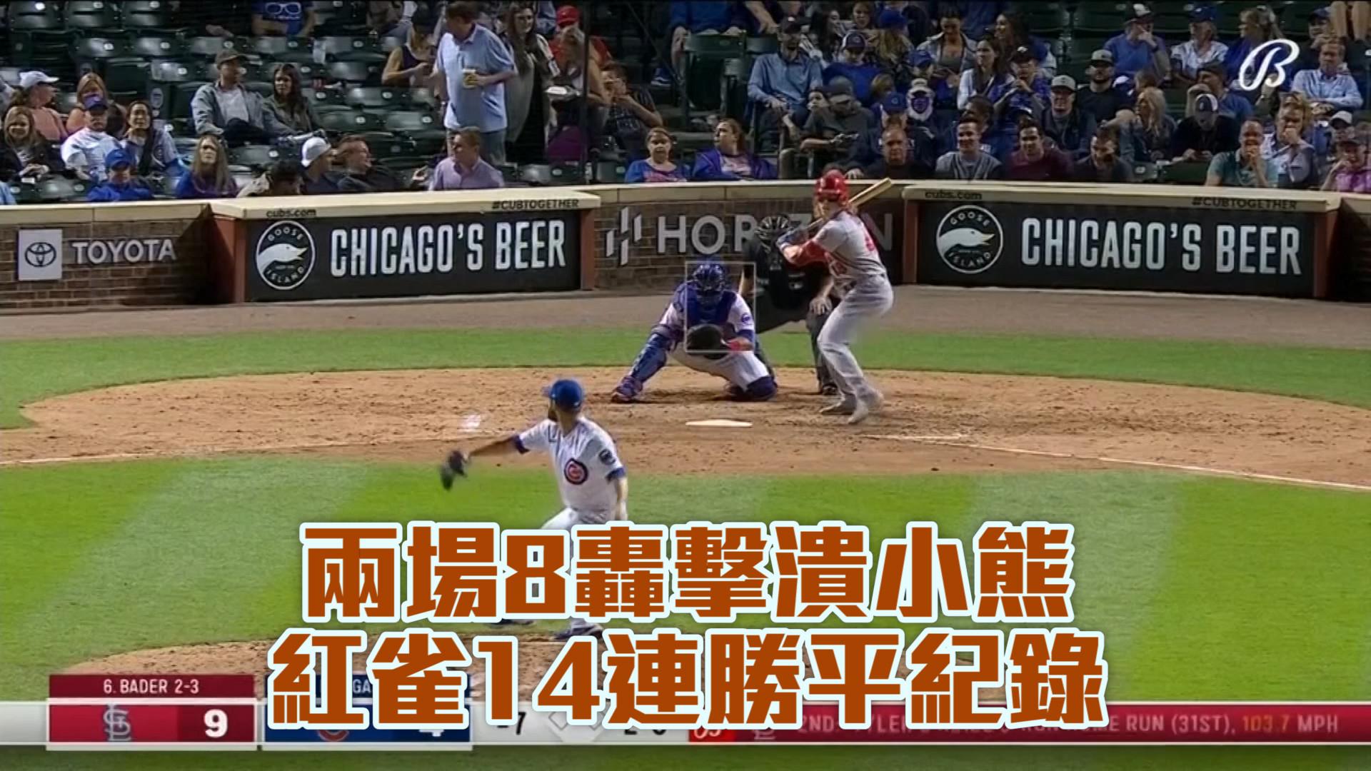 【MLB看愛爾達】兩場8轟擊潰小熊 紅雀14連勝平紀錄 9/25