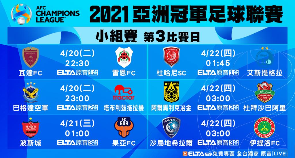 2021 AFC亞洲冠軍足球聯賽 免費看