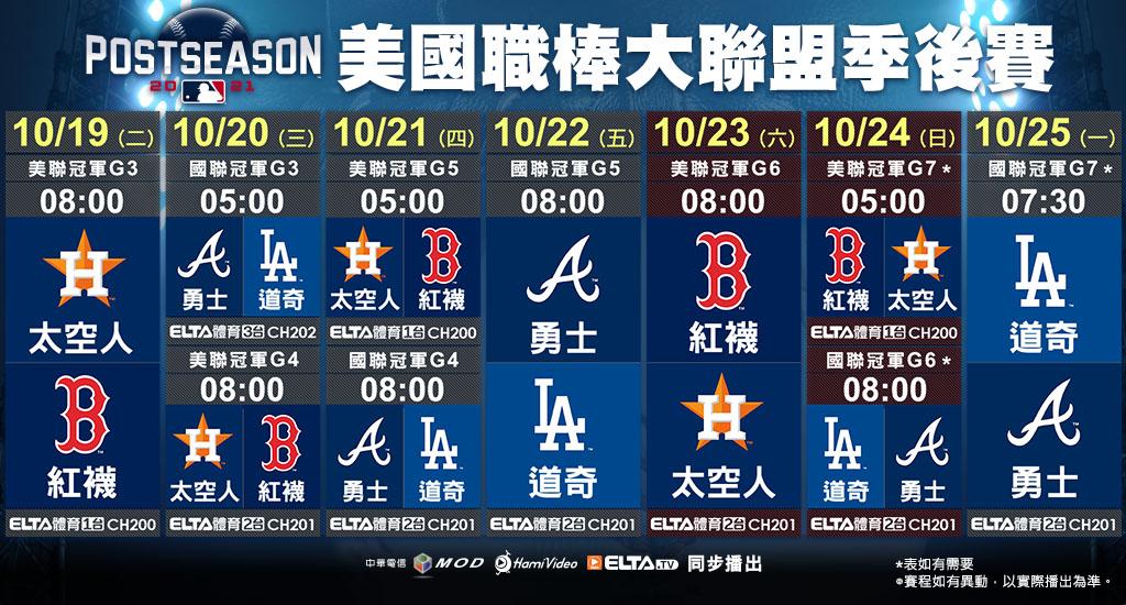 2021 MLB 美國職棒大聯盟 - 一週轉播預告