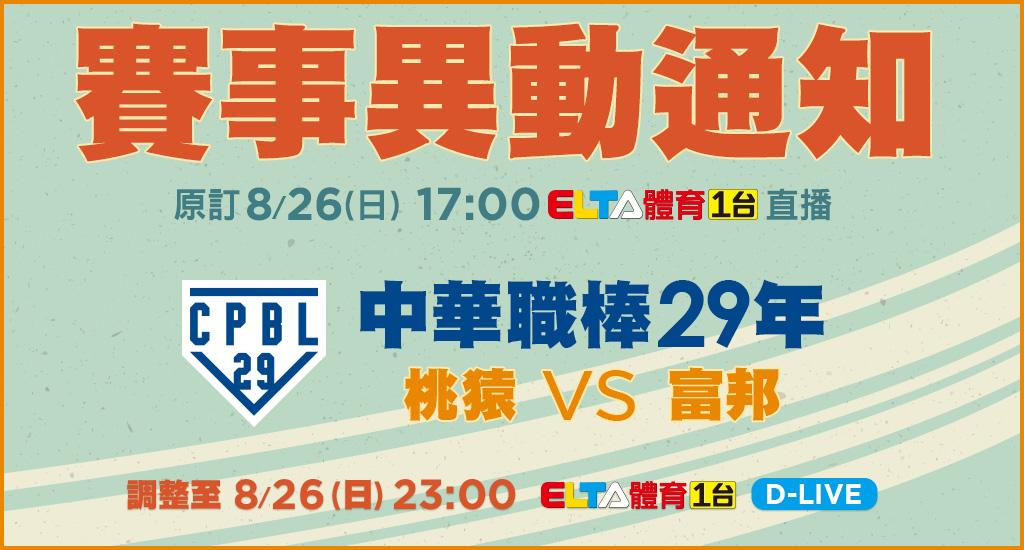 8/26中華職棒賽事異動