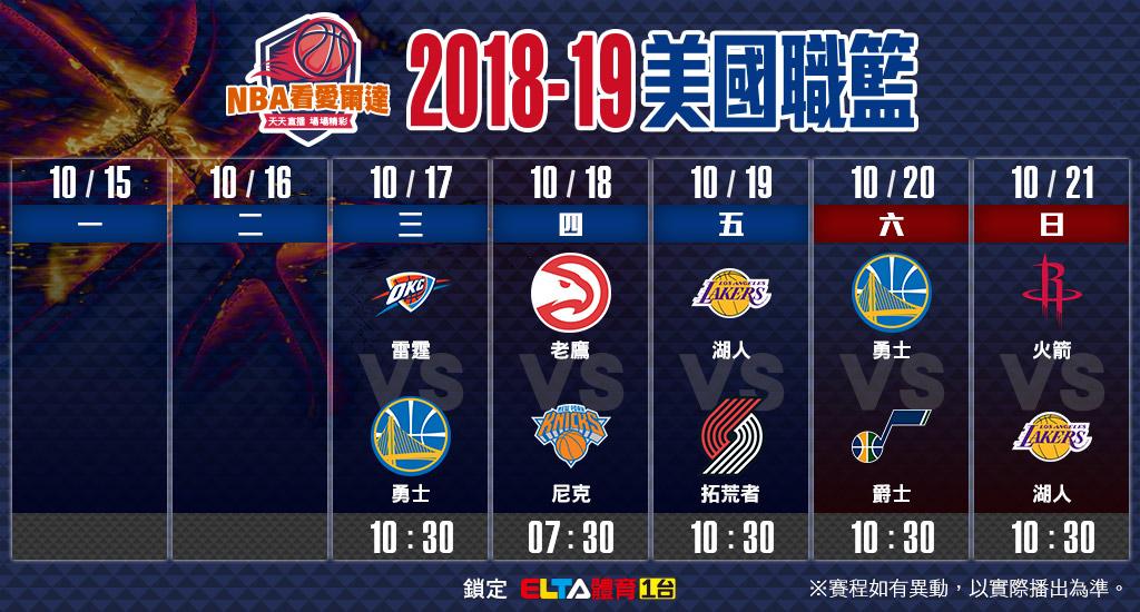 NBA美國職籃10/17-10/21賽程預告