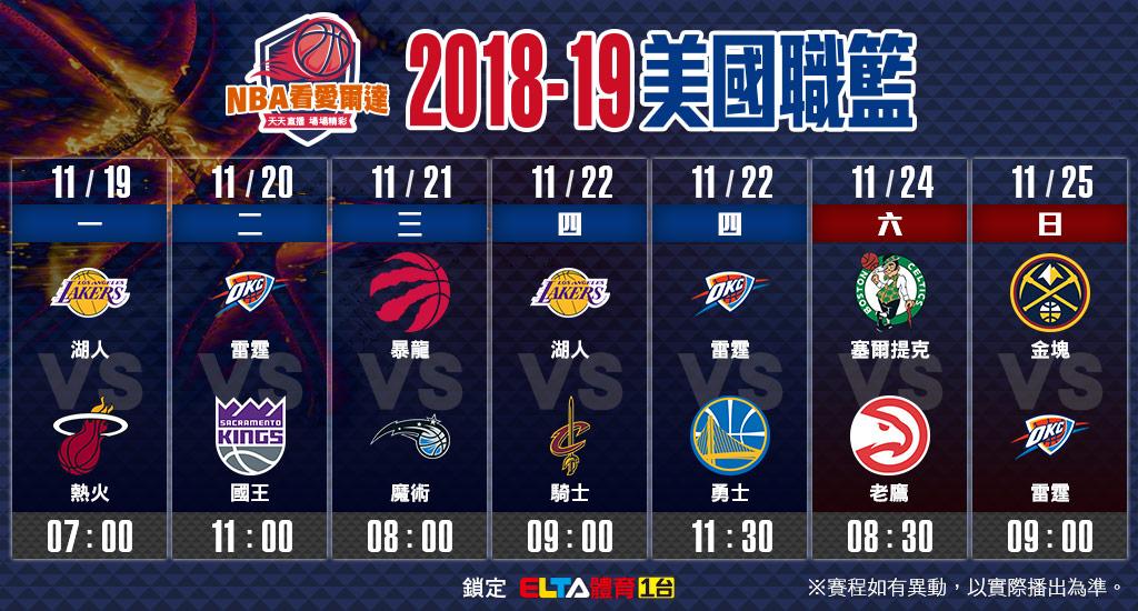 NBA美國職籃11/19-11/25賽程預告