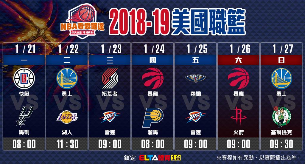 NBA美國職籃01/21-01/27賽程預告