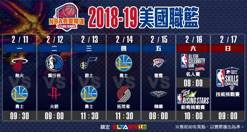 NBA美國職籃02/11-02/17賽程預告