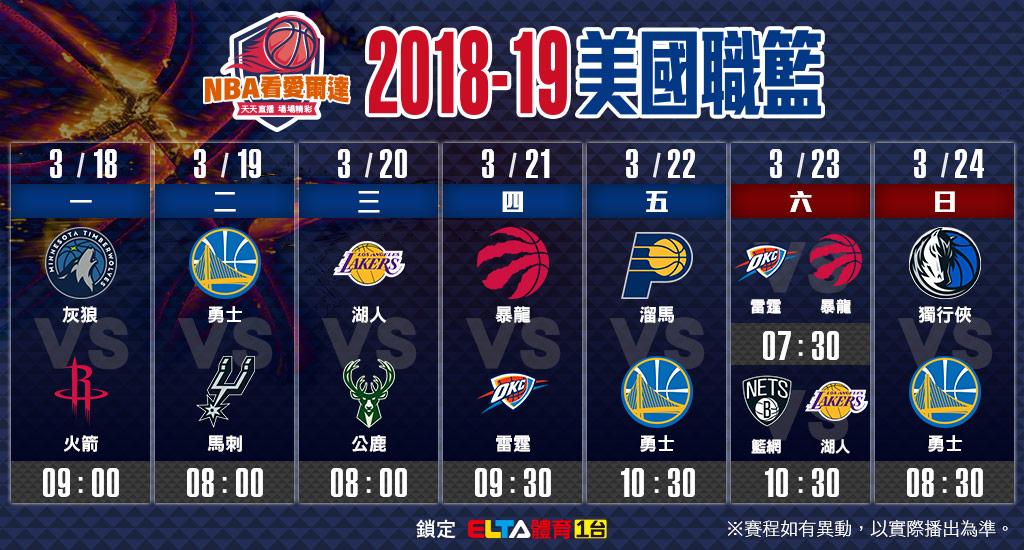NBA美國職籃03/18-03/24賽程預告